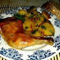Baked Chicken Legs with Garlic Potatoes