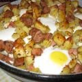 Baked Potatoes with Sausages and Eggs