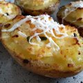 Stuffed Potatoes with Eggs, Feta Cheese and Onions