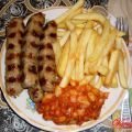 Kebabs with Potatoes and Beans with Chutney