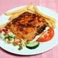 Moussaka with Potatoes, Rice and Tomatoes