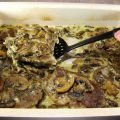Pork Steaks with Mushrooms and Processed Cheese