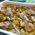 Chicken Meat with Fresh Potatoes in the Oven