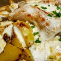 Chicken with Cream and Potatoes in a Glass Cook Pot