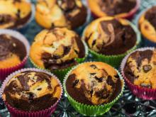 Muffins with Chocolate and Sour Cherry Jam