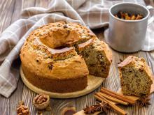 Fluffy Cake with Dried Fruit and Cinnamon