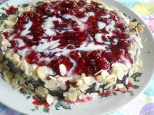 Quick Raspberry Cake with Sliced Almonds