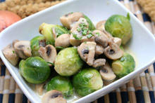 Brussels Sprouts with Mushrooms in a Pan