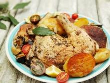 Chicken Legs with Potatoes and Mushrooms