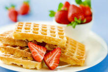 Golden Waffles with Fruits and Ice Cream