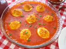 Deviled Eggs in Tomato Sauce