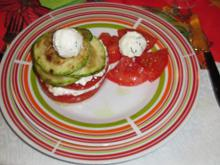 Tomato with Feta Cheese Mousse and Grilled Zucchini