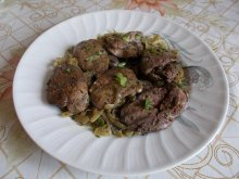 Chicken Livers with Onions in a Pan