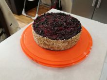 Homemade Frech Country-Style Cake with Blueberries