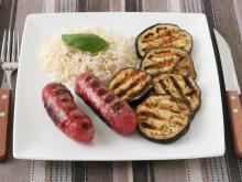 Grilled Eggplants with Sausages