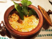 Clay Pots with Feta Cheese and Sausages