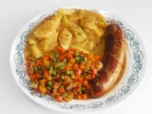 Baked Sausages with Potatoes and Cream