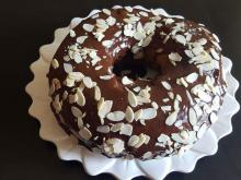 Cake with a Chocolate Glaze and Almonds