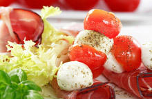 Tomatoes with Mozzarella and Cucumber Rolls