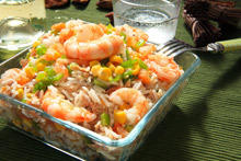 Salad with Shrimp and Rice