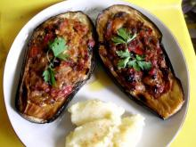 Stuffed Eggplants with Carrots, Peppers, Tomatoes