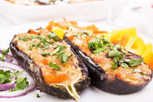 Stuffed Eggplant with Steamed Vegetables