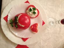 Stuffed Tomatoes with Cucumber and Strained Yoghurt