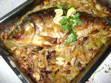 Stuffed Carp with Sauce in the Oven