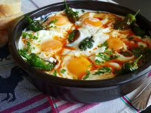 Spicy Chili Peppers with Eggs Sunny Side Up in Sauce