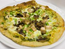 Pizza with Mushrooms and Pesto