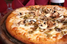 Pizza with Fresh Mushrooms and Feta Cheese