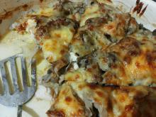 Tasty Oven-Baked Turkey Meat with Mushrooms and Processed Cheese