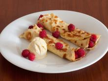 Pancakes with Raspberries and Ice Cream