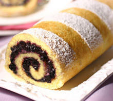 Roll with Jam and Powdered Sugar