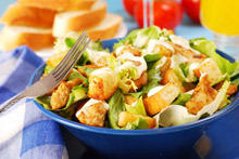 Salad with Fried Eggs and Croutons
