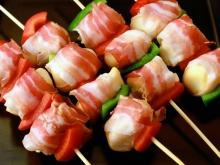 Skewers with Bacon and Processed Cheese