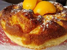 Juicy Cake with Compote Peaches
