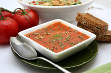 Gazpacho with Dill and Olive Croutons