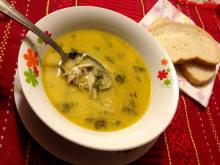 Spinach Soup with Chicken Meat
