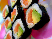 Sushi with Avocado and Salmon