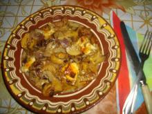 Pork with Mushrooms and Processed Cheese in the Oven