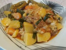 Village-Style Pork with Rice and Potatoes