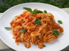 Tagliatelle with Salmon and Tomato Sauce