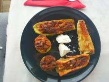 Zucchini and Cannelloni Stuffed with Minced Meat and Vegetables