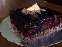 Biscuit Cake with Starch and Cocoa Glaze