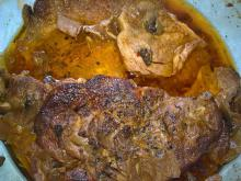 Pork Neck Steaks with Mushrooms in Glass Cook Pot