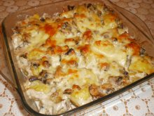 Casserole with Boiled Potatoes and Mushrooms