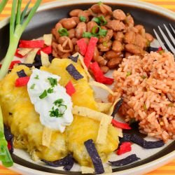 Enchiladas with Chicken Meat and Cream
