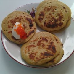 Blini with Einkorn and Red Caviar