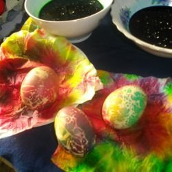 Dyed Eggs with a Napkin